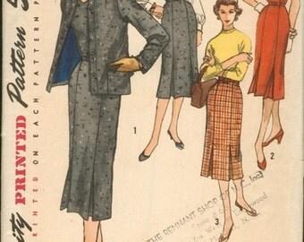 Super Vintage 1950s Simplicity 1721 Jacket, Sweetheart Sheath Dress or Jumper and Slim Skirt Sewing Pattern B36