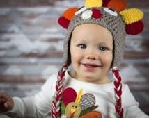 Crochet Turkey Hat Thanksgiving Photo Prop Halloween Costume Boys Winter Cap Ready to Ship RTS Girls Handmade NB 6 12 18 24 mos 3T 4T S M L