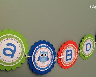 Party Banner: Boy Owls in Blue, Green & Orange - Baby Shower Birthday Party Decorations Garland Photo Prop