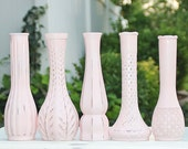 Shabby Chic Pink Vase Set Of Five Shabby Chic Made to Order