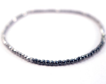Silver Hematite Bracelet, Thin Stacking Bracelet, Beaded Silver Bracelet, Bangle Bracelet, Silver and Black Color Block Bracelet