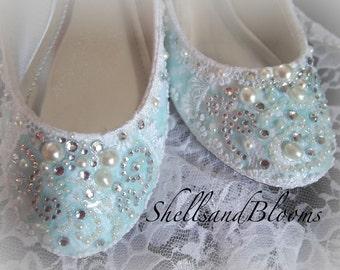 Wedding Bridal Ballet Flat Shoes - 8.5  1/2 chic SOMETHING BLUE Robins Egg lace - Rhinestone Pearls - Shabby vintage inspired davids bridal
