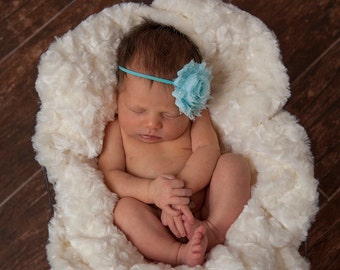 Aqua flower headband - newborn headband - flower headband - newborn prop