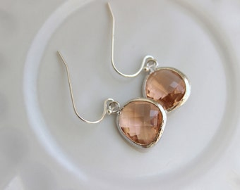 Peach Champagne Earrings Light Pink Silver Plated Sterling Silver Earwires - Bridesmaid Earrings - Wedding Earrings - Bridal Earrings