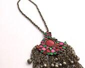 Boho Necklace, Bohemian Jewelry, Vintage Kuchi Necklace, Vintage Boho, Tribal Necklace