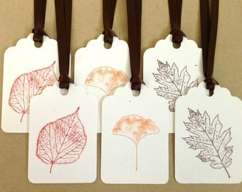 Fall Tags - Autumn Tags - Fall Wedding Tags - Thanksgiving Tag Set - Rustic Stamped Tags - Fall Leaves Tags - Autumn Leaf Tags - Fall Favor