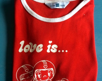 Vintage t-shirt - Love is...a wild ride - 70s - Fire Red - Size 10/XS