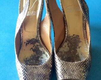 CHIARINI BOLOGNA - Bronze Sparkling Snake Platform Mary Janes - Sz: 6/36