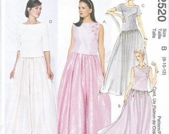 Mccalls 2 Piece Elegant Dress Pattern Prom Wedding Evening GownTop Skirt Evening DressWear Elegant Fashion Sewing Craft Pattern Size 6 8 10