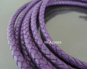 Leather Cord 6mm - Purple Round Braided Bolo Genuine Leather Cord ( Hole Inside )
