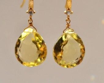 SALE Yellow Sapphire Quartz Gold Gemstone Earrings - September Birthstone Earrings