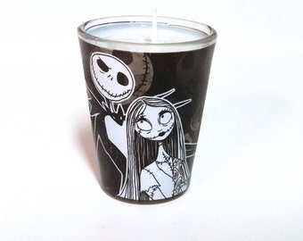Nightmare Before Christmas Soy Candle - Jack & Sally Shot Glass Candle - CHOICE OF SCENT