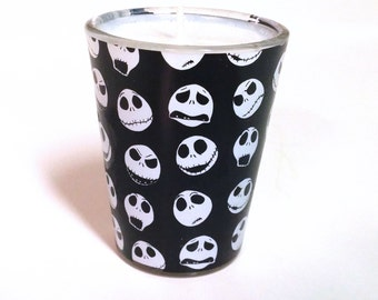 Nightmare Before Christmas Soy Candle - Jack Skellington Faces Shot Glass Candle - CHOICE OF SCENT