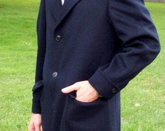 Vintage 1960s Men's Navy Blue Wool Coat by McGregor Soderstrom 40 R Only 15 USD