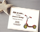 Instant Download - Scooter - Custom Printable Digital Invitation - Red and Lime Green - Free Triangle Backside