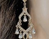 Chandelier earrings - Gold - Rhinestone earrings - Long - Statement earrings - Bridal jewelry - Prom - Pageant - Super Sharp -
