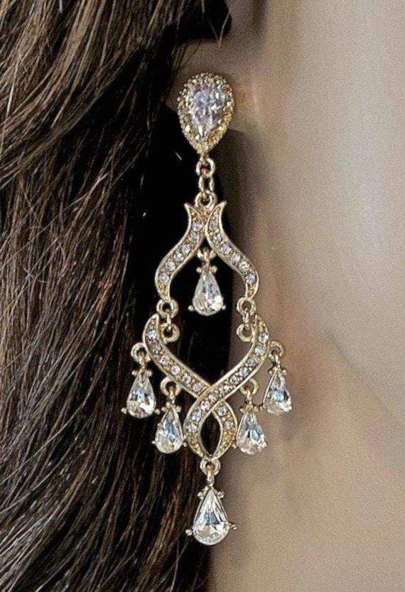 Chandelier Earrings Gold Rhinestone Earrings Long