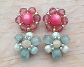 Pink and Blue Cluster Earrings / 1950s 1960s Mid Century Flower Plastic Beaded Clip On Earrings Set / Two Pairs / Signed Hong Kong