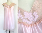 Vintage 1960s Light Pink Nylon Babydoll Nightgown with Pink Cream Lace Trim and Floral Applique / Sleeveless Nightie / Avian Small Medium