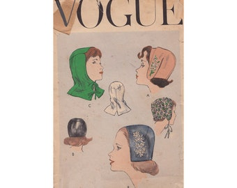 Vogue 1555 Set of Easy to Make Hats, Bonnets and Hood Vintage 1950s Sewing Pattern 22 Inch Head Size *view B is not included