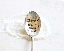 Sugar ohh, honey honey - Honey Spoon Hand Stamped - Honey, sugar, coffee spoon - As seen on laurenconrad.com, Lauren Conrad Instagram