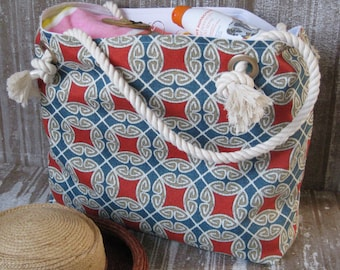Beach Tote Bag Women's Gift Personalized Beach Bag Travel Tote Vacation Cruise Geometric Medallions Blue Rust Gold READY TO SHIP