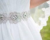 Large Floral Bridal Sash, Diamond Rhinestone Wedding Belt, Flower Diamond Design, Beaded Vintage Style Bridal Accessories