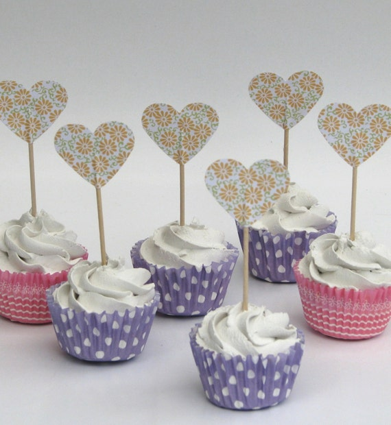 CLEARANCE 50% off - Cupcake topper - food pick - tooth pick heart shaped pale yellow flowers - 20 pcs