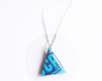 triangle necklace resin necklace blue necklace funky necklace colorful necklace geek necklace eco-friendly necklace vinyl record necklace