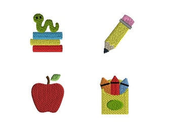 Mini School Machine Embroidery Design Set-INSTANT DOWNLOAD