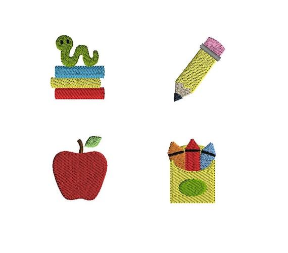 Mini school machine embroidery design set instant download