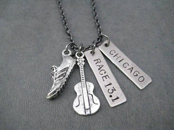 ROCK 'n' ROLL RACE 13.1 Custom Race Pendant - Your Race Name - Running Jewelry - Half Marathon Running Necklace on 18 inch gunmetal chain