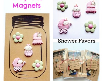 Baby Girl Magnets, Baby Girl Shower Favors, Gift Thank You, Nursery Decor, Pink Magnets