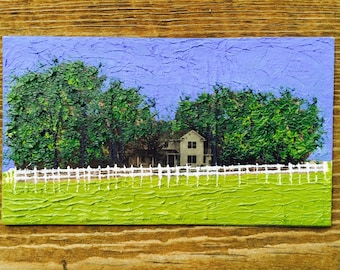 Little Woodland Farmhouse on the Prairie Oil Hand Painted Magnet ACEO
