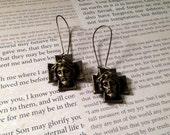 Sacrifice Earrings /  Sad Jesus Earrings / Sleepy Jesus Brass Dangle Earrings / Grunge Goth Mori Dolly Kei Kidney Hooks