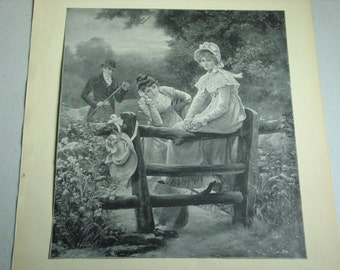 Antique print of Empire period girls in the country