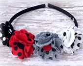 Clearance Gir'ls Polka Dot Headband- Wool Felt Flowers-Back to School Headband, Winter Hair Accessory- Hard Headband- Red, Black, White Grey