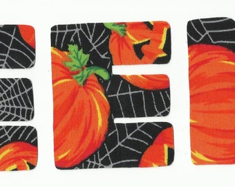 EEK Halloween Fabric Letter Iron On Appliques