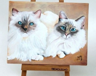 Cat custom portrait, double portrait, pet painting on a 8x10 canvas, hand painted