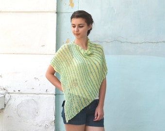 Womens Hand Knit Poncho, yellow green, Shawl Wrap, Holiday Fashion, Summer Spring Poncho, teenagers, Size S - L, oversized , Ready to ship