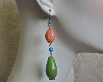 Color Block Earrings Long Colorful Dangle Drops Vintage Assemblage Statement Bright Peach Pea Green Kiwi Turquoise 50s Beads One of a Kind
