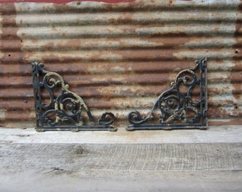 HUGE Antique Set of 2 Iron Salvaged Ornate Architecual Bracket Chipping Paint Decorateive Bracket  Old Victorian Late 1800s Rusted Chippy