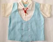 Vintage 1950s 60s Toddler Boy Vest Top Bolero Tie Shorts Outfit 12 Months