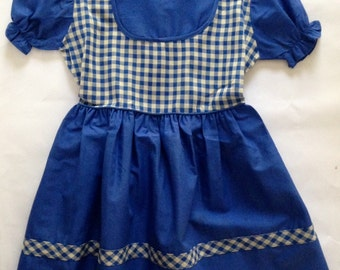 Vintage 1950s Girls' Blue Gingham One Piece Dress Size 6X