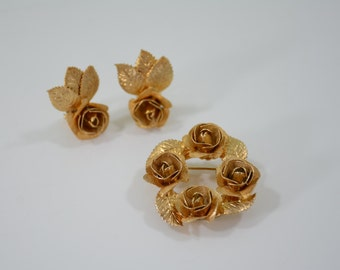 Mid Century Judy Lee Brooch and Clip On Earrings Set