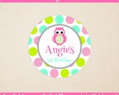 Owl Birthday Stickers - Pink Owl Thank You Stickers - Polka Dot Owl Stickers - Owl Gift Stickers - Owl Favors - Digital or Printed