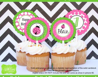 Pink Ladybug Party Circles - Pink Ladybug Cupcake Toppers - Ladybug Toppers - Bug Cupcake Toppers - Digital and Printed Available