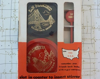 60's San Francisco Coasters Souvenir Coctail Stirrers Red Black Gold