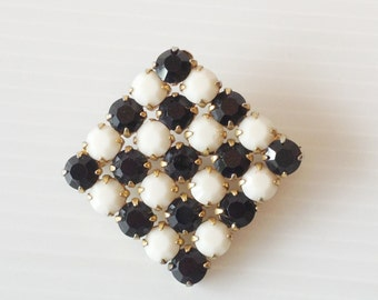 black and white inlayed rectangle vintage brooch,