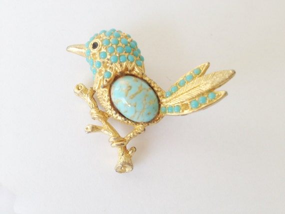 bird brooch, gold tone and turqouise stones bird brooch,  sphinx 1960's vintage jewelry, turqouise cabochon brooch, bird on a branch